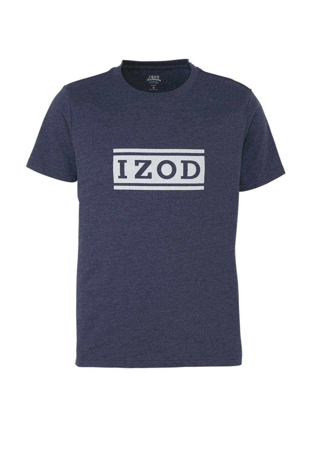 IZOD T-shirt met logo marine, Marine/wit