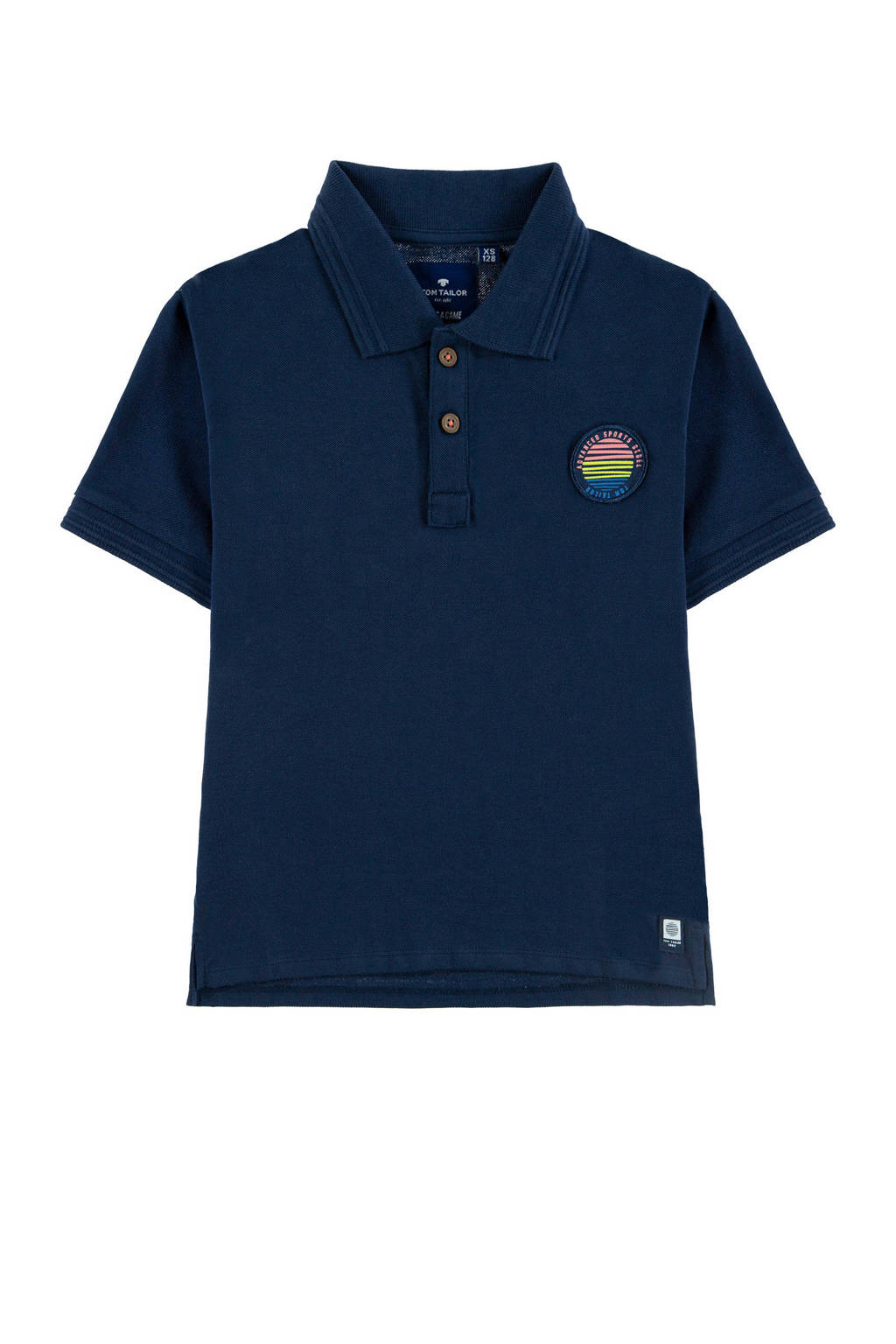 Tom Tailor polo met patch donkerblauw, Donkerblauw