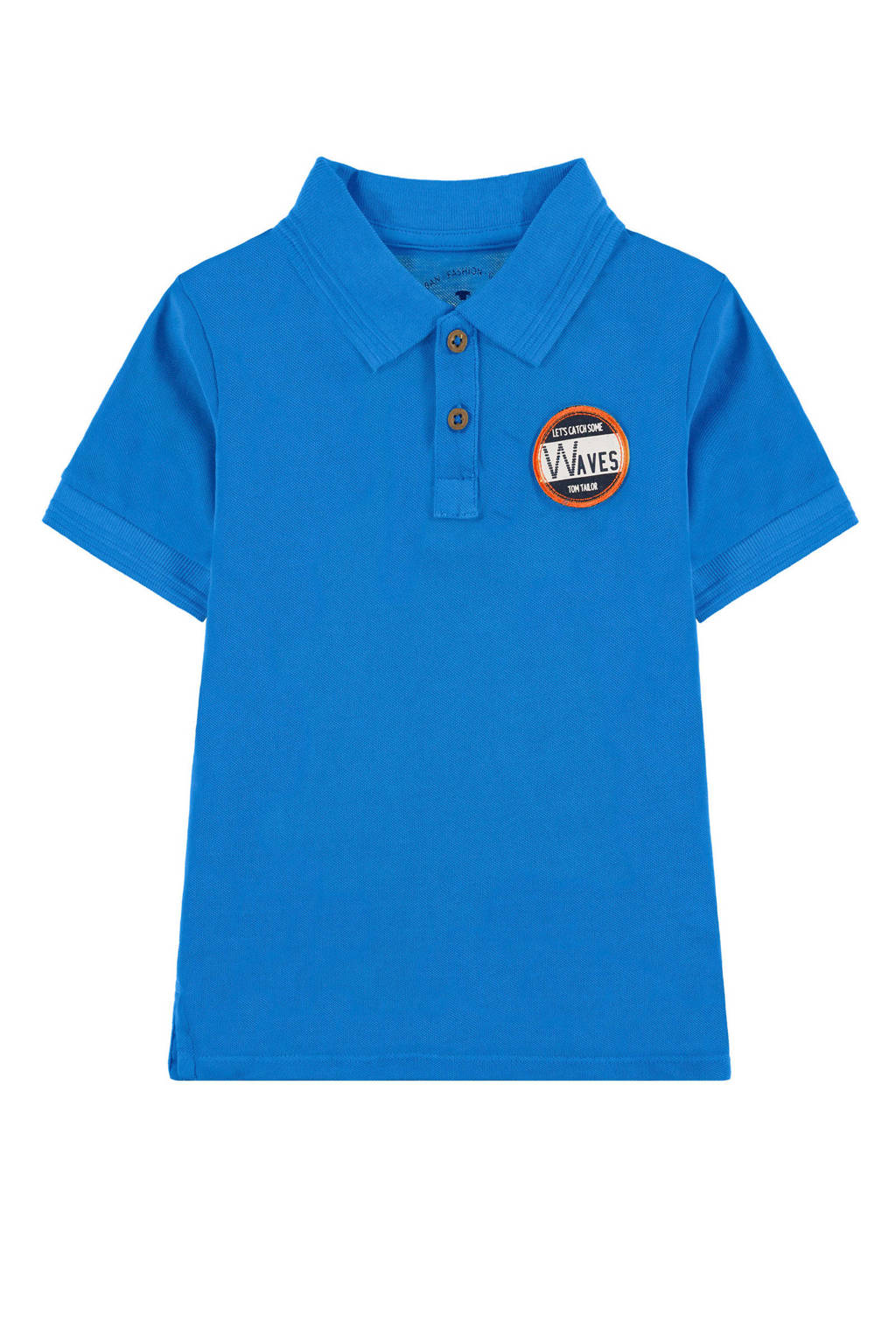 Tom Tailor polo met patch blauw, Blauw