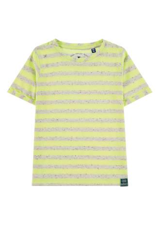 gestreept T-shirt neon geel