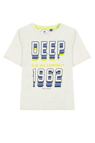 T-shirt met print wit melée