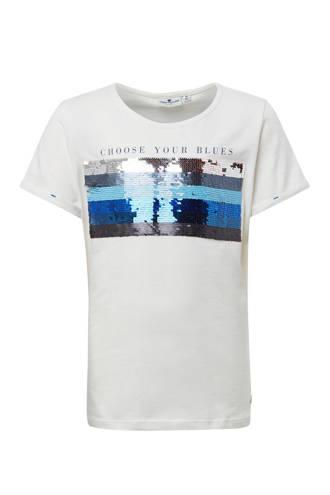 T-shirt met pailletten en tekst wit