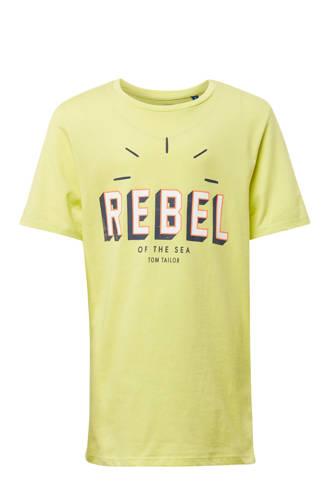 T-shirt met tekstprint geel