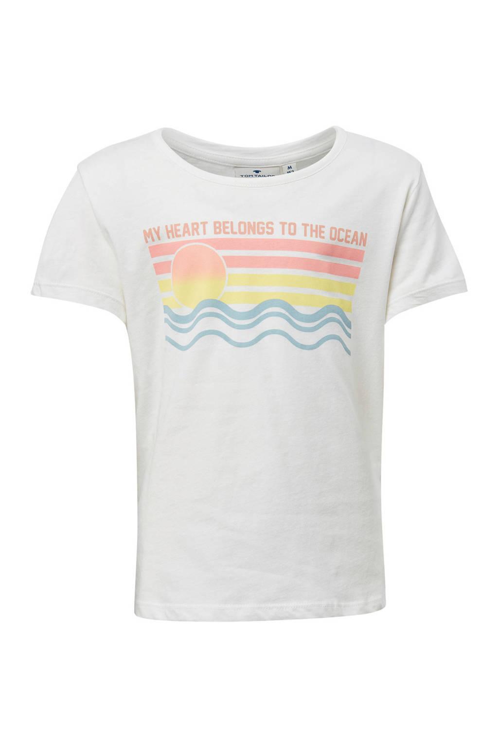 Tom Tailor T-shirt met print wit, Wit