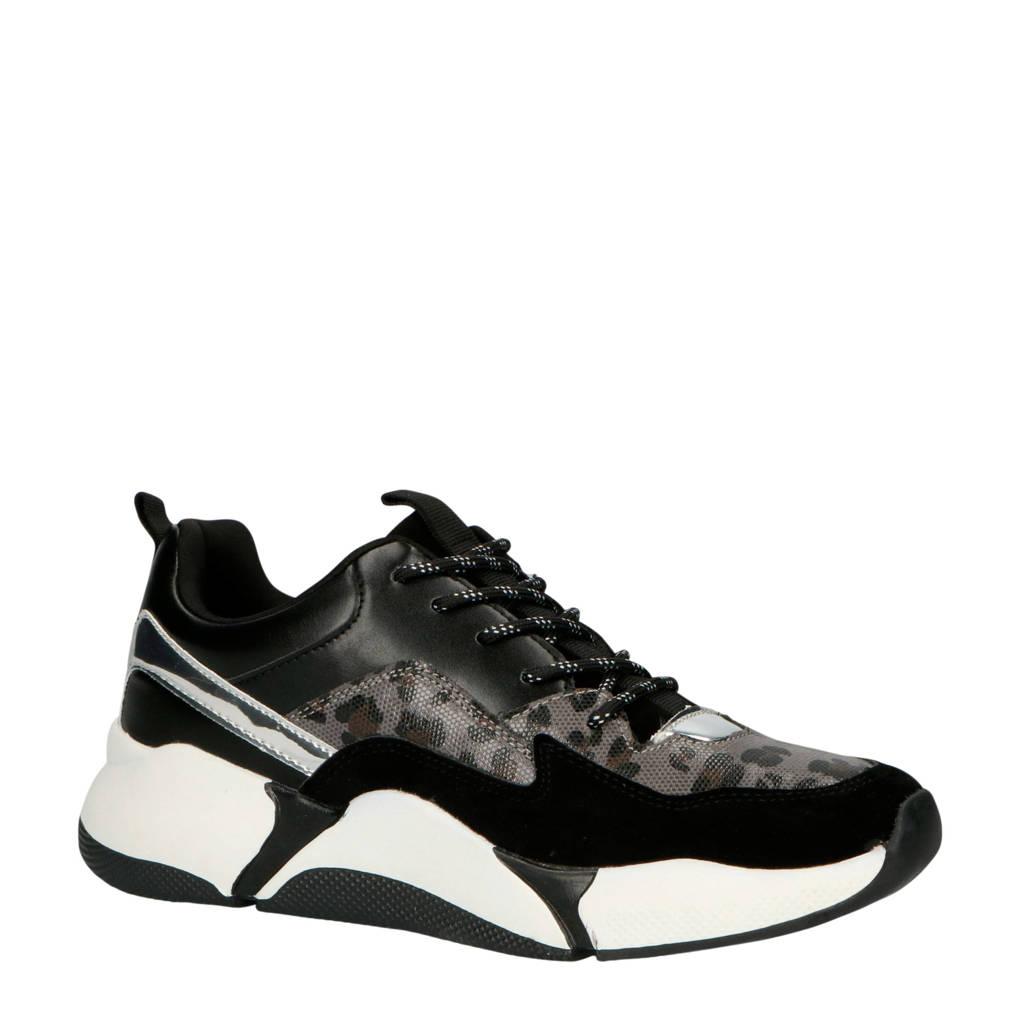 bullboxer  077003F5S sneakers zwart/panterprint, Zwart/zilver