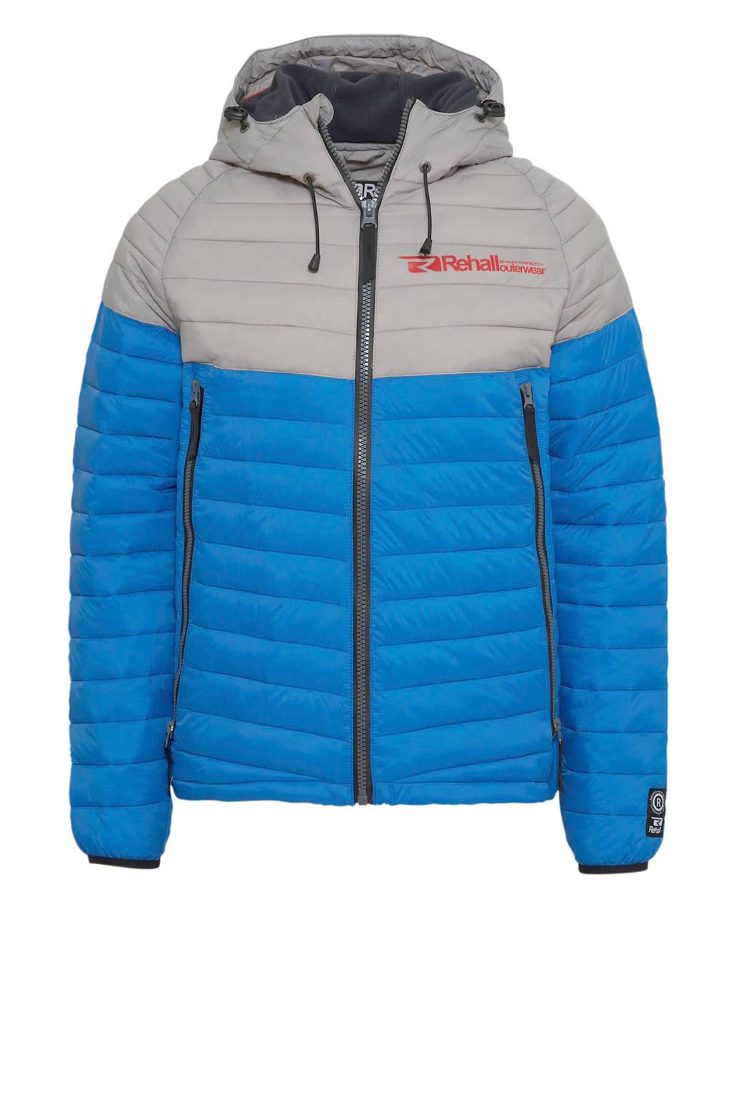 Rehall gewatteerde jas blauw/lichtgrijs