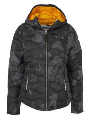 gewatteerde jas zwart/grijs