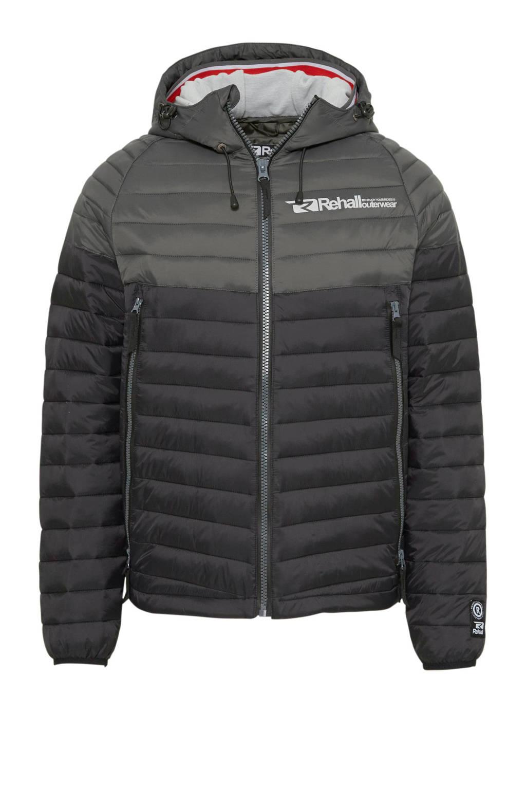 Rehall gewatteerde jas zwart/donkergroen, Zwart/donkergroen