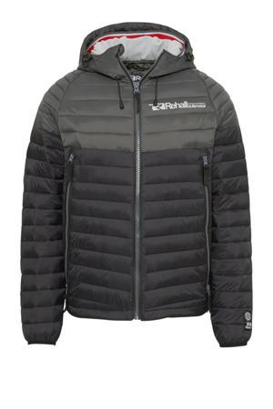 gewatteerde jas zwart/donkergroen