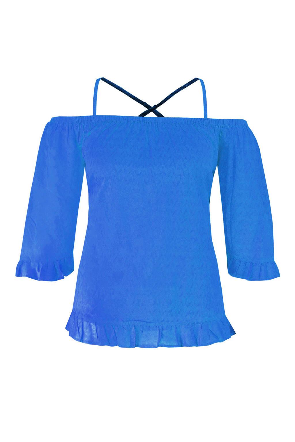 MS Mode off shoulder top met gekruiste bandjes, Kobalt blauw