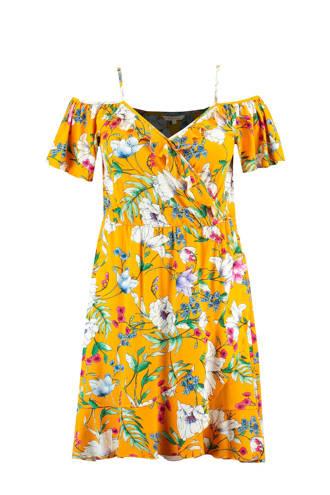 jurk met openschouder en overslag kraag