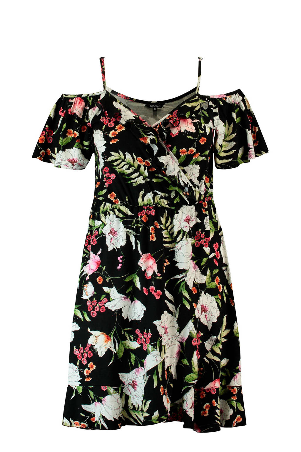 MS Mode jurk met openschouder en overslag kraag, Zwart/multi