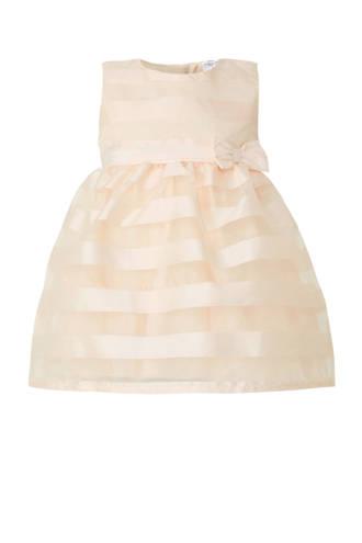 Baby Club gestreepte jurk met mesh zalm