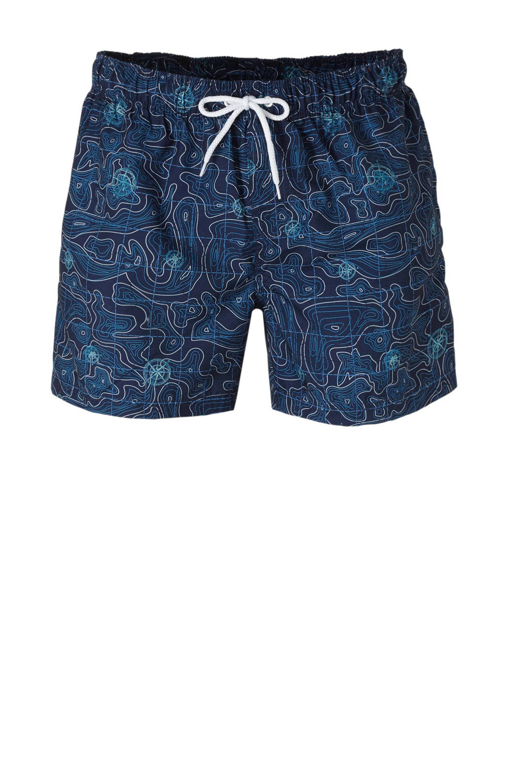 C&A zwemshort met all over print blauw, Blauw/turquoise/wit