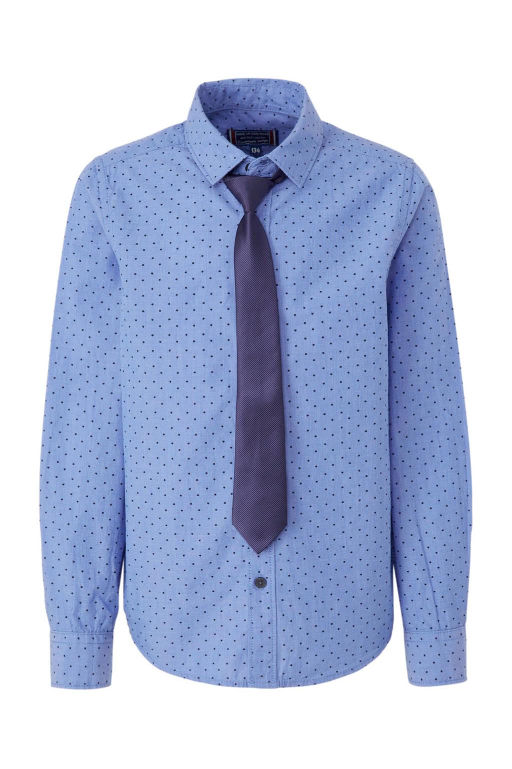 C&A Here & There overhemd met sterren + stropdas, Blauw
