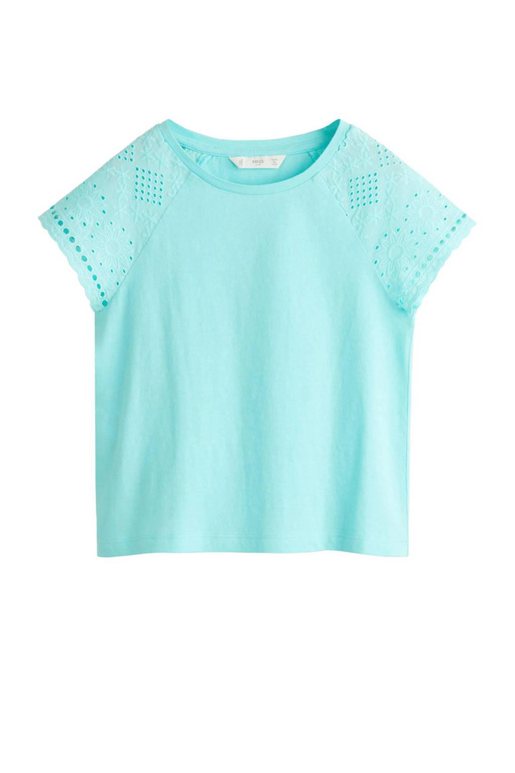 Mango Kids T-shirt met broderie lichtblauw, Lichtblauw