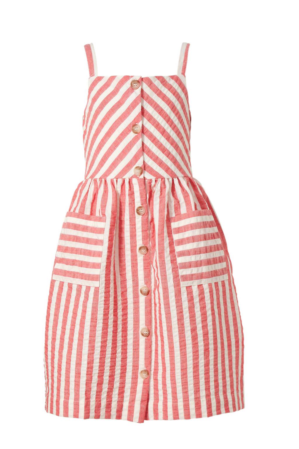 Mango Kids gestreepte jurk roze, Roze/wit