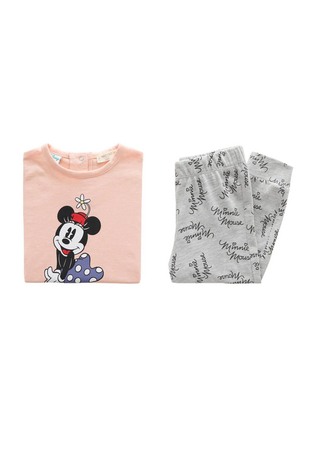 Mango Kids Minnie Mouse pyjama roze/grijs, Lichtroze/grijs