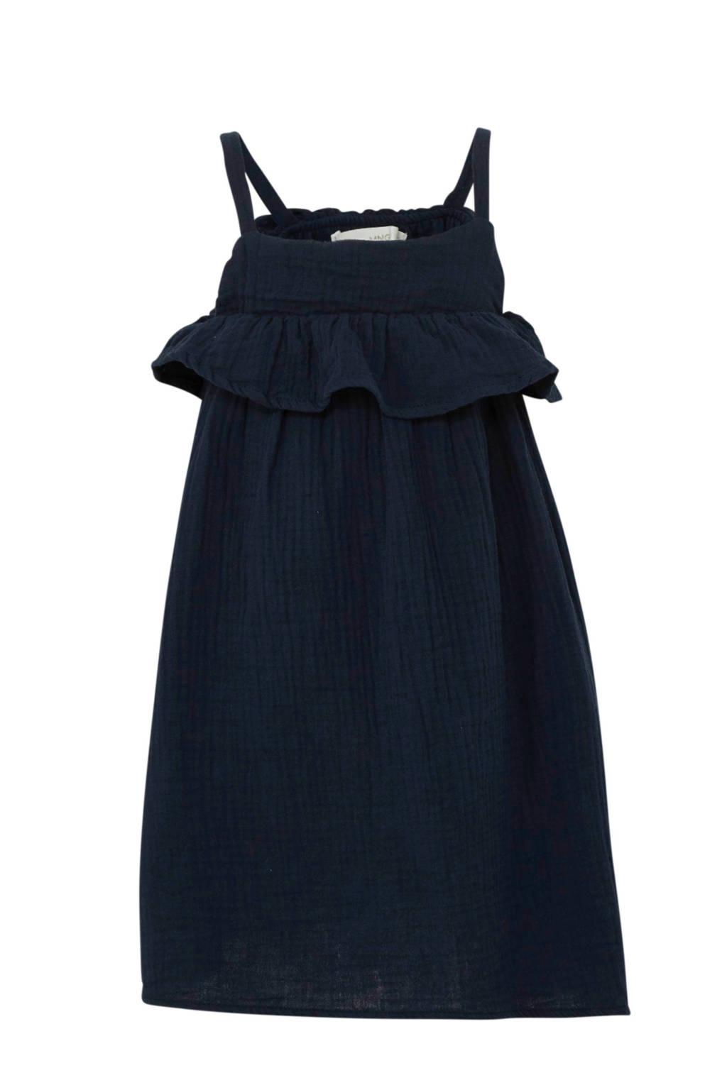 Mango Kids jurk met volant blauw, Donkerblauw