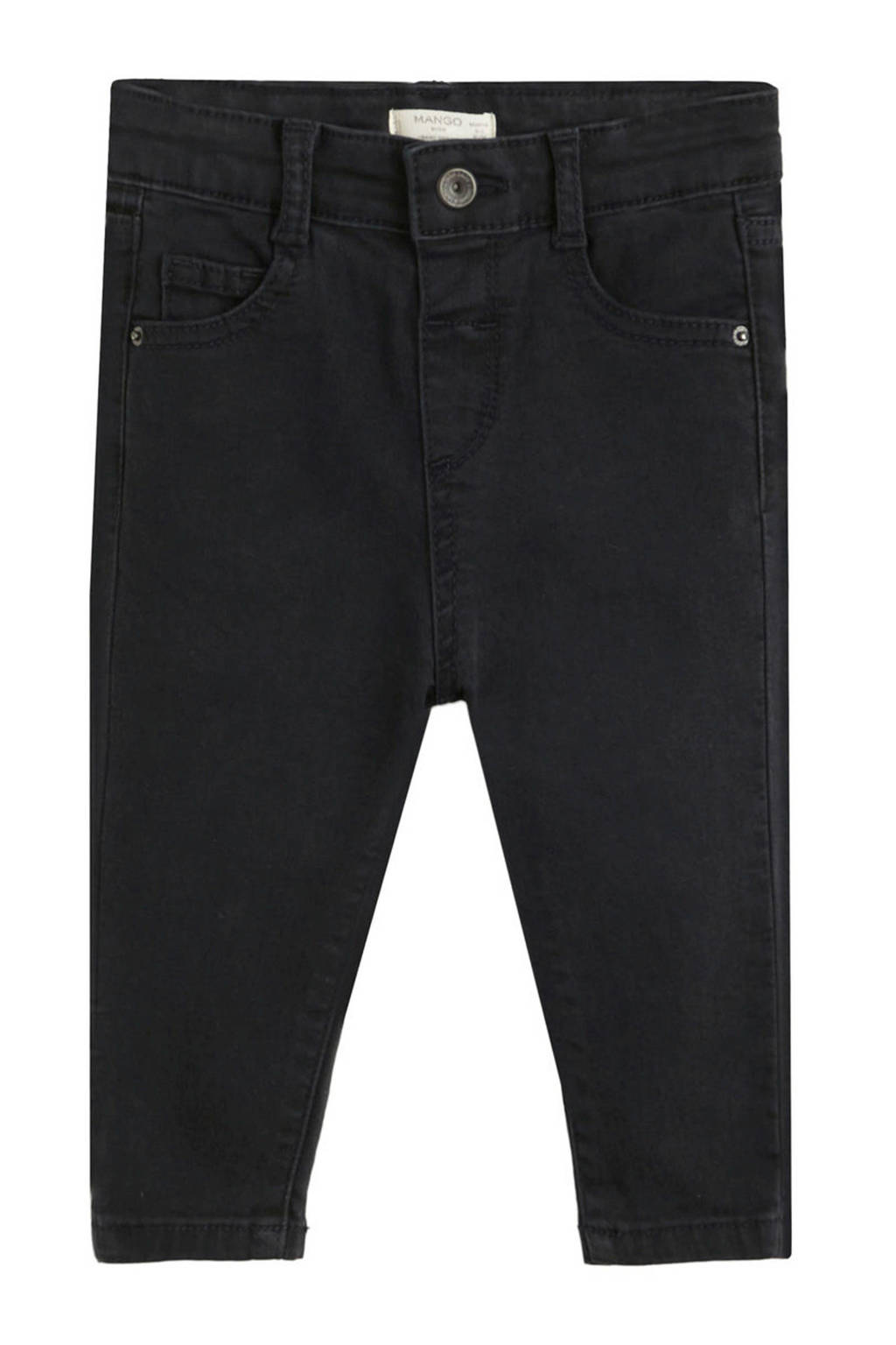 Mango Kids baby high waist skinny jeans, Zwart