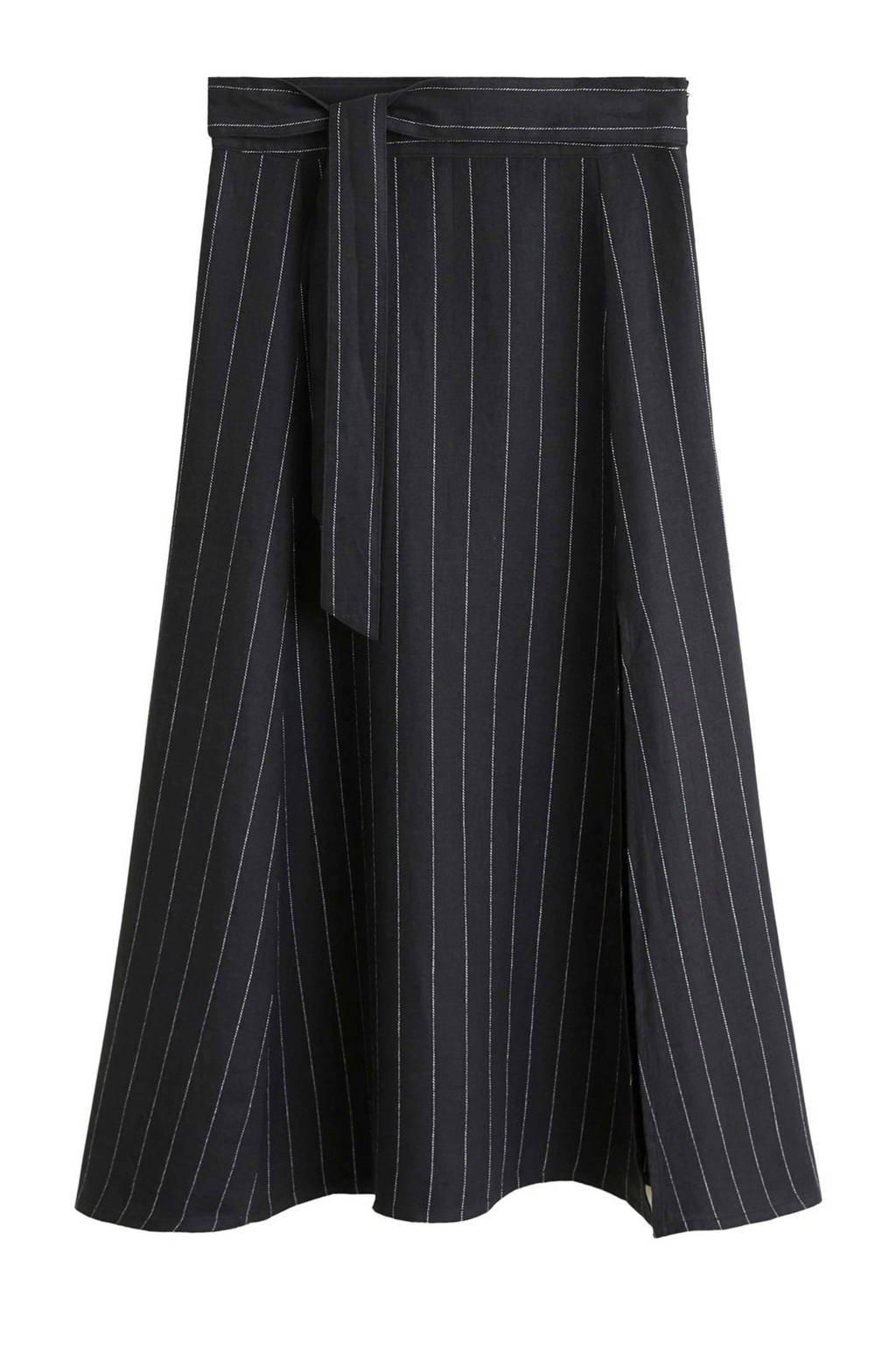 Mango linnen rok met krijtstreep zwart, Zwart