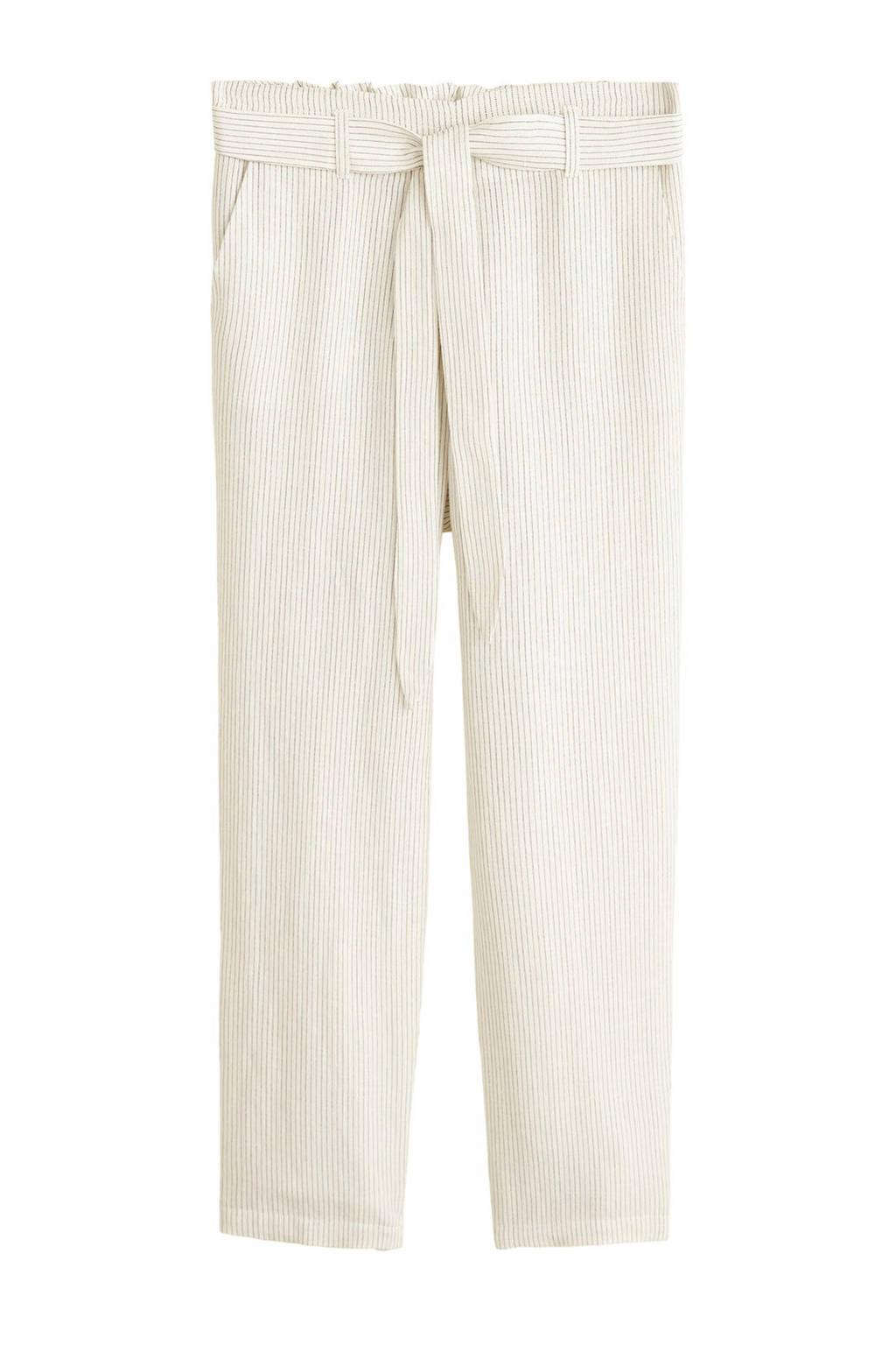 Mango gestreepte cropped regular fit broek met linnen beige/wit, Beige/wit