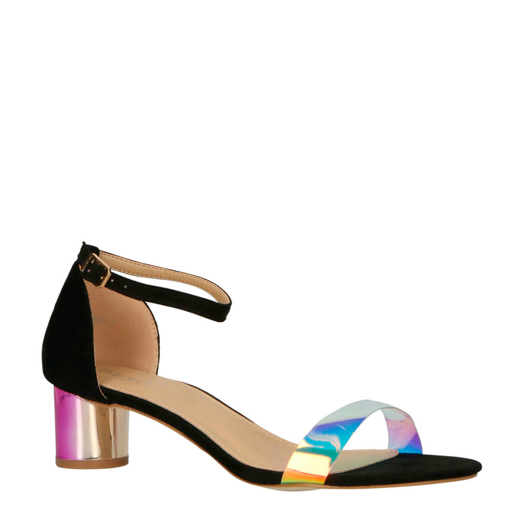 Bebo Rhona sandalettes zwart/roze, Zwart/roze