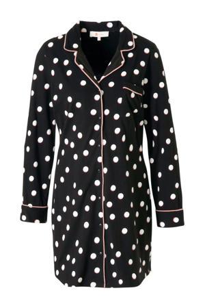 nachthemd met stippen zwart/roze