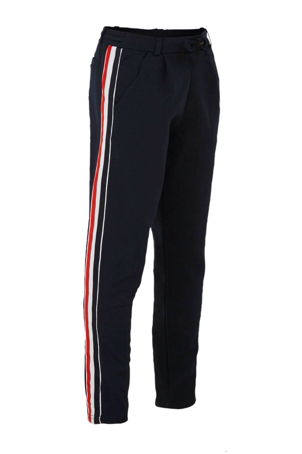 LTB joggingbroek Jowose met zijstreep donkerblauw/wit/rood, Donkerblauw/wit/rood