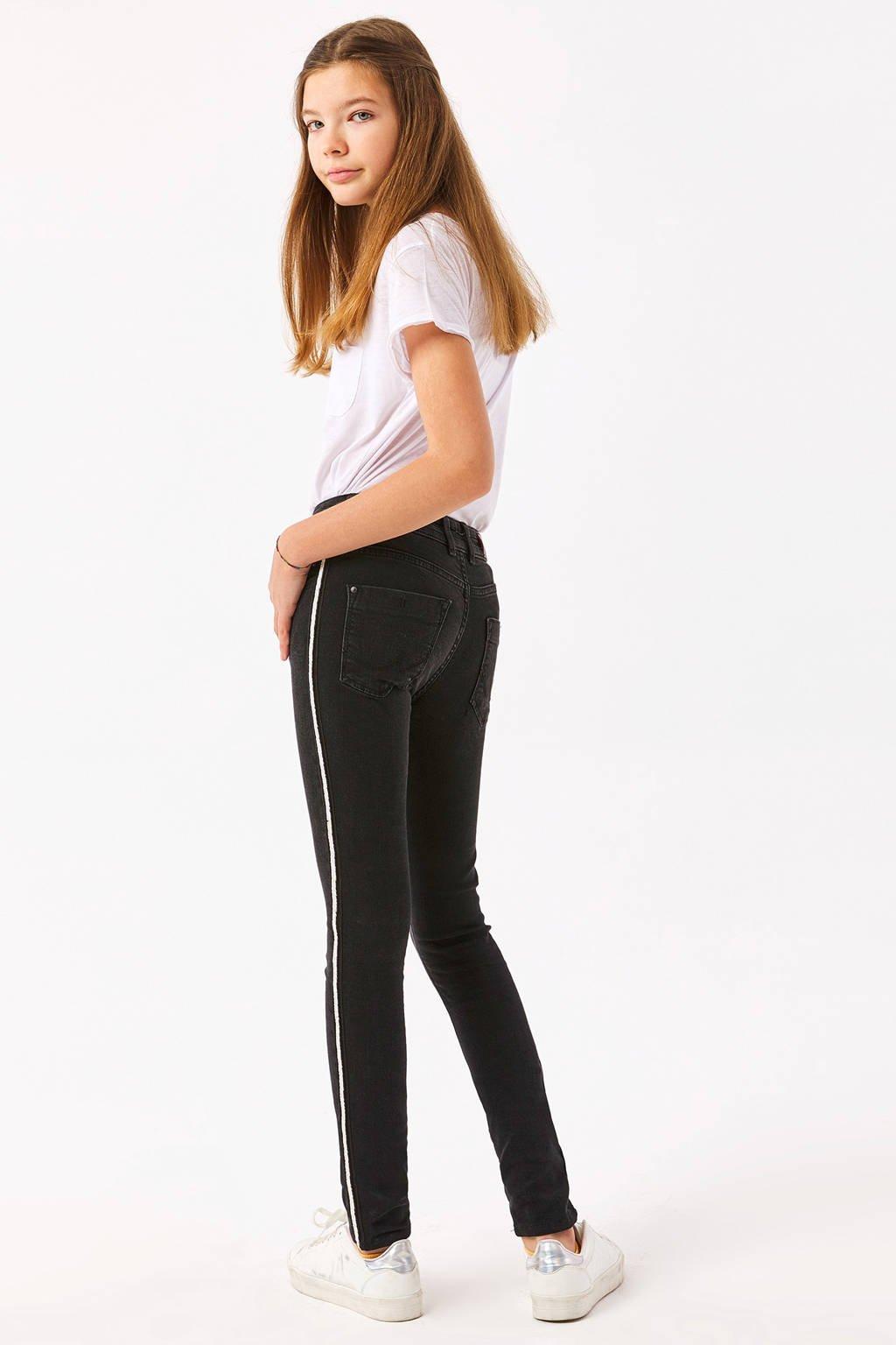 LTB skinny jeans met zijstreep zwart/wit, Zwart/wit