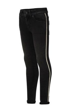 skinny jeans met zijstreep zwart/wit