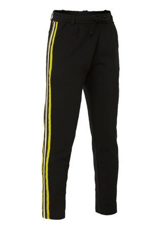 joggingbroek Nawelo met zijstreep zwart/geel