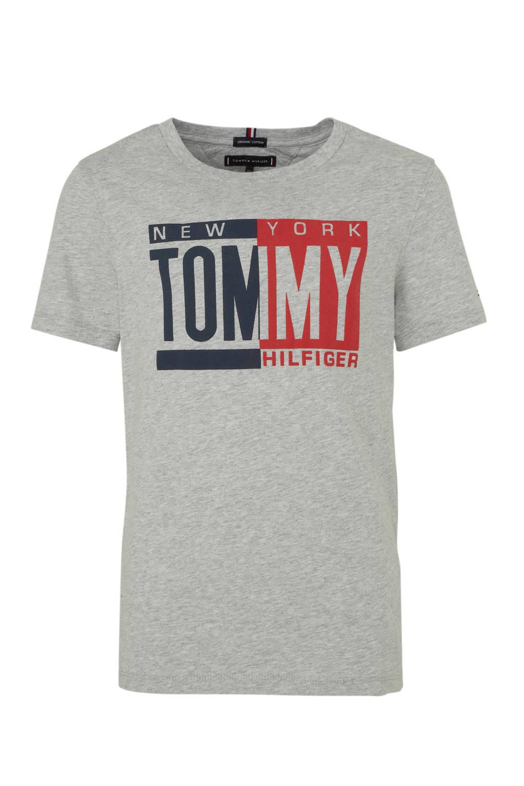 Tommy Hilfiger T-shirt met printopdruk grijs melange/rood/donkerblauw, Grijs melange/rood/donkerblauw