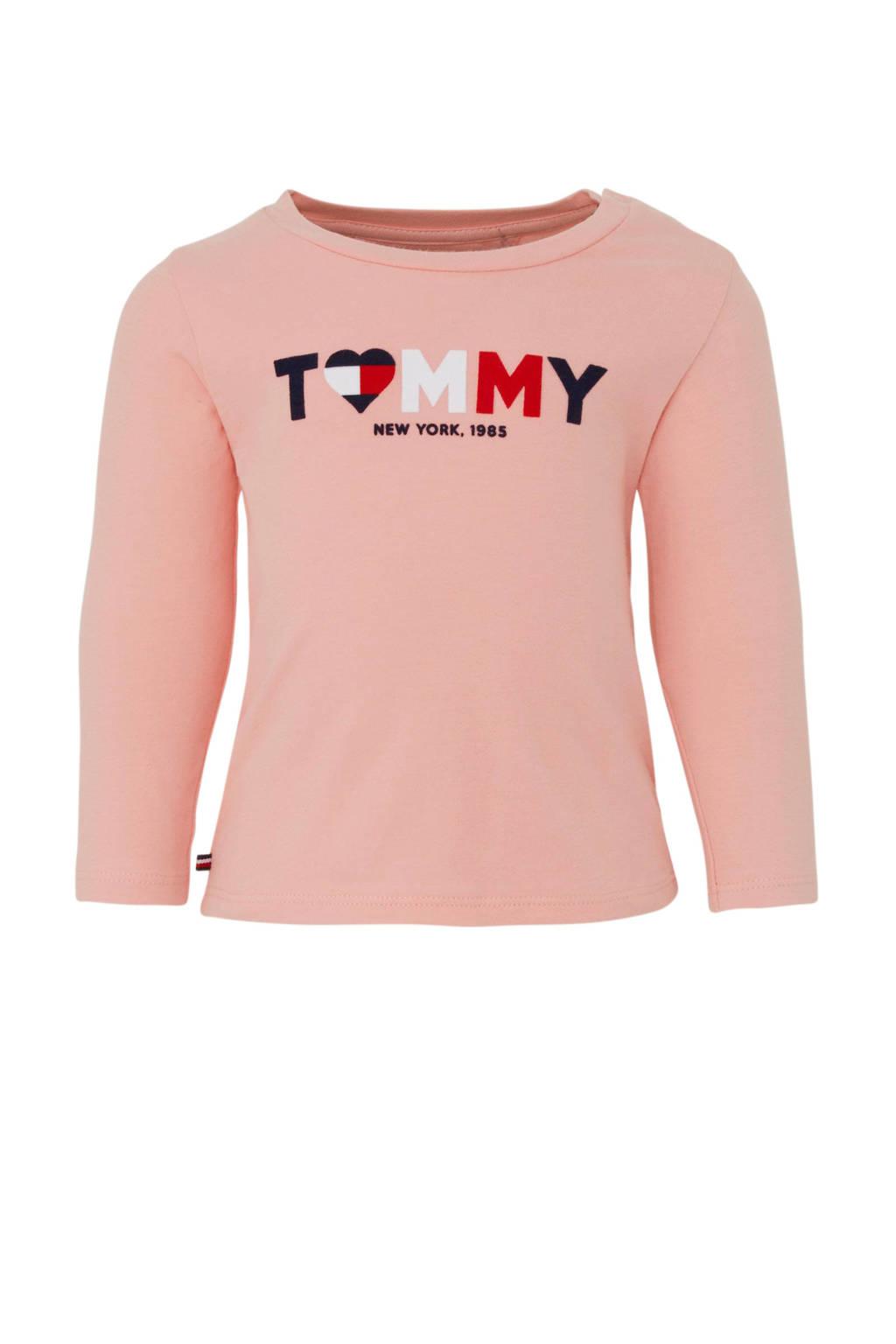 Tommy Hilfiger longsleeve met logo lichtroze, Lichtroze