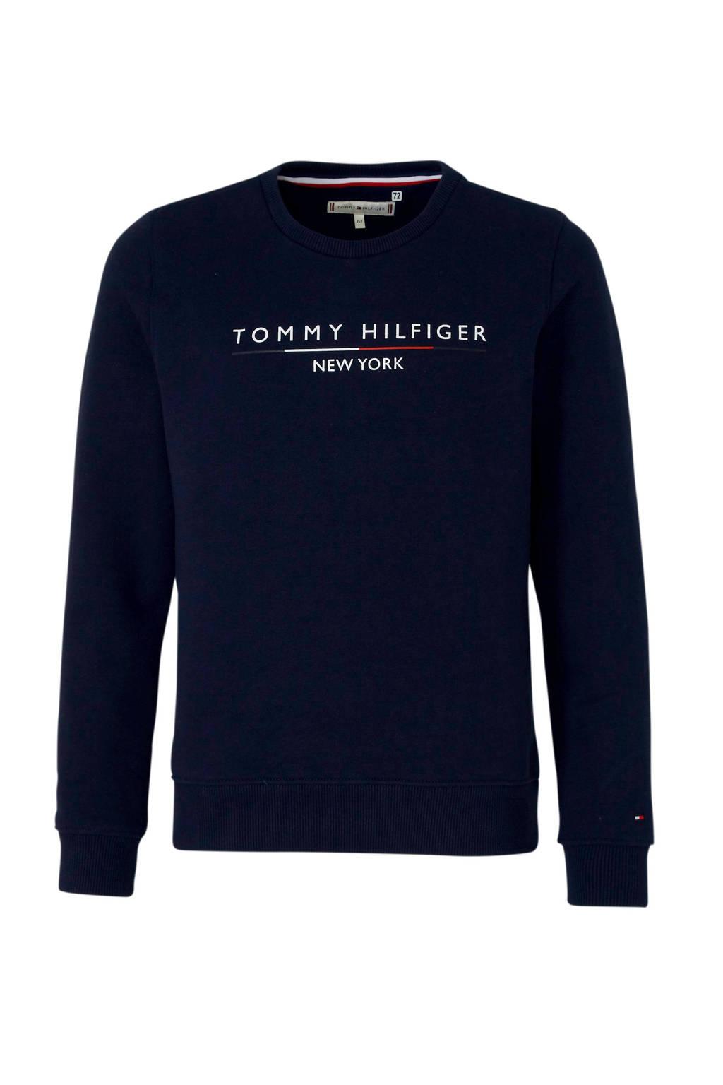 Tommy Hilfiger sweater met logo donkerblauw, Donkerblauw