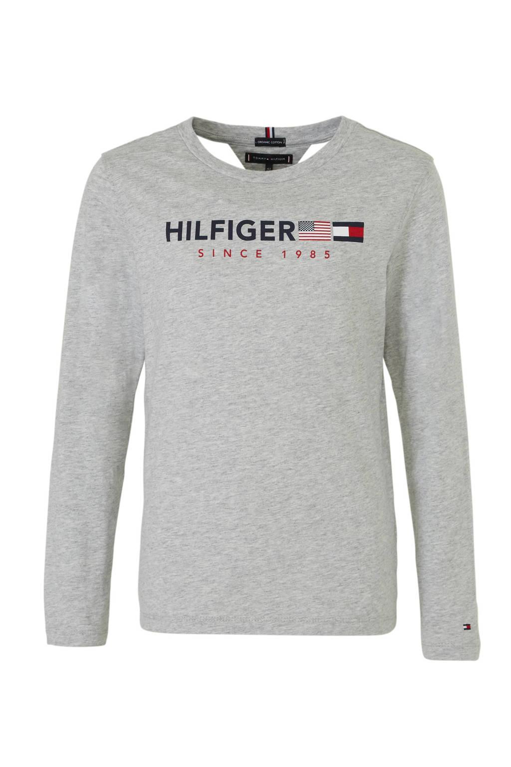 Tommy Hilfiger longsleeve met logo grijs melange, Grijs melange
