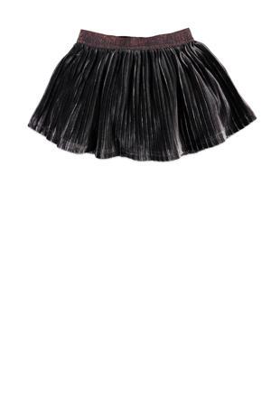 fluwelen rok met plooien antraciet