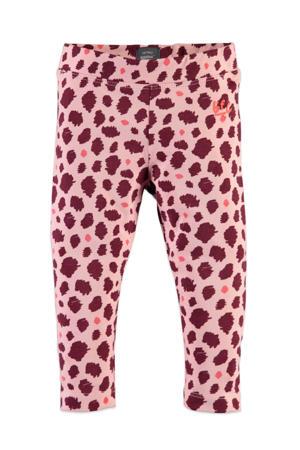 legging met all over print roze/donkerpaars