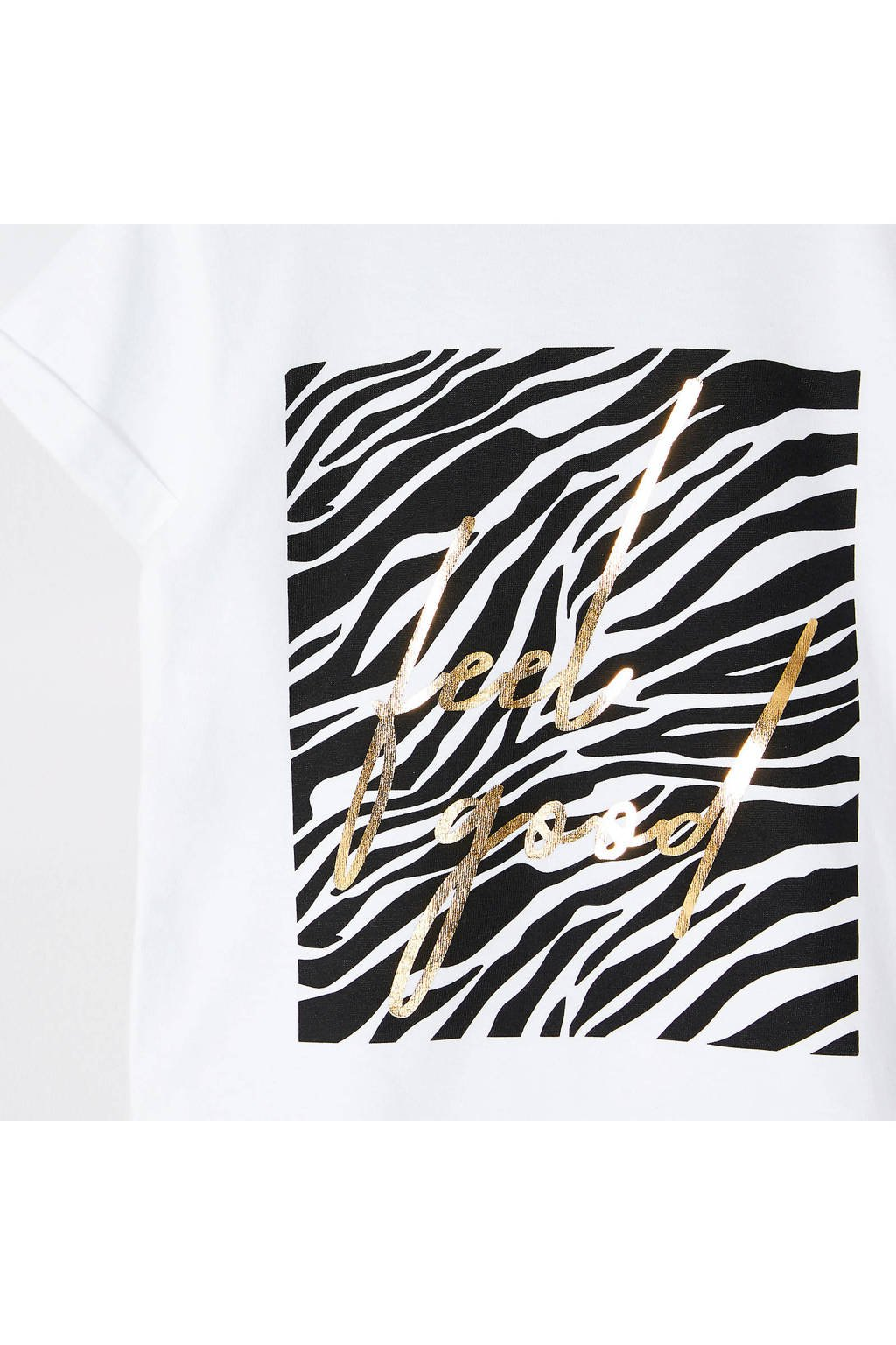 River Island T-shirt met zebraprint wit, Wit