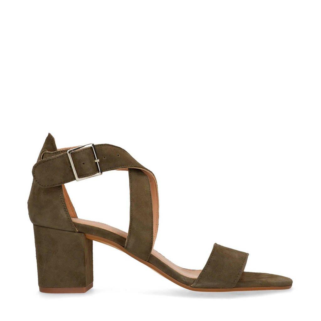 Manfield suède sandalettes kaki, Kaki/groen
