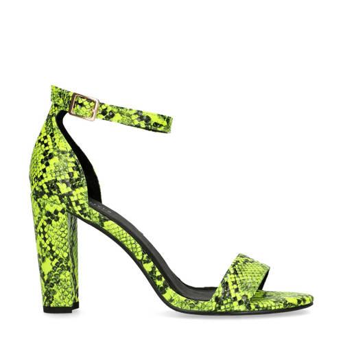Sacha sandalettes slangenprint neon groen