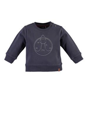 sweater met borduursels grijsblauw/wit
