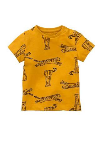 T-shirt met panters oker