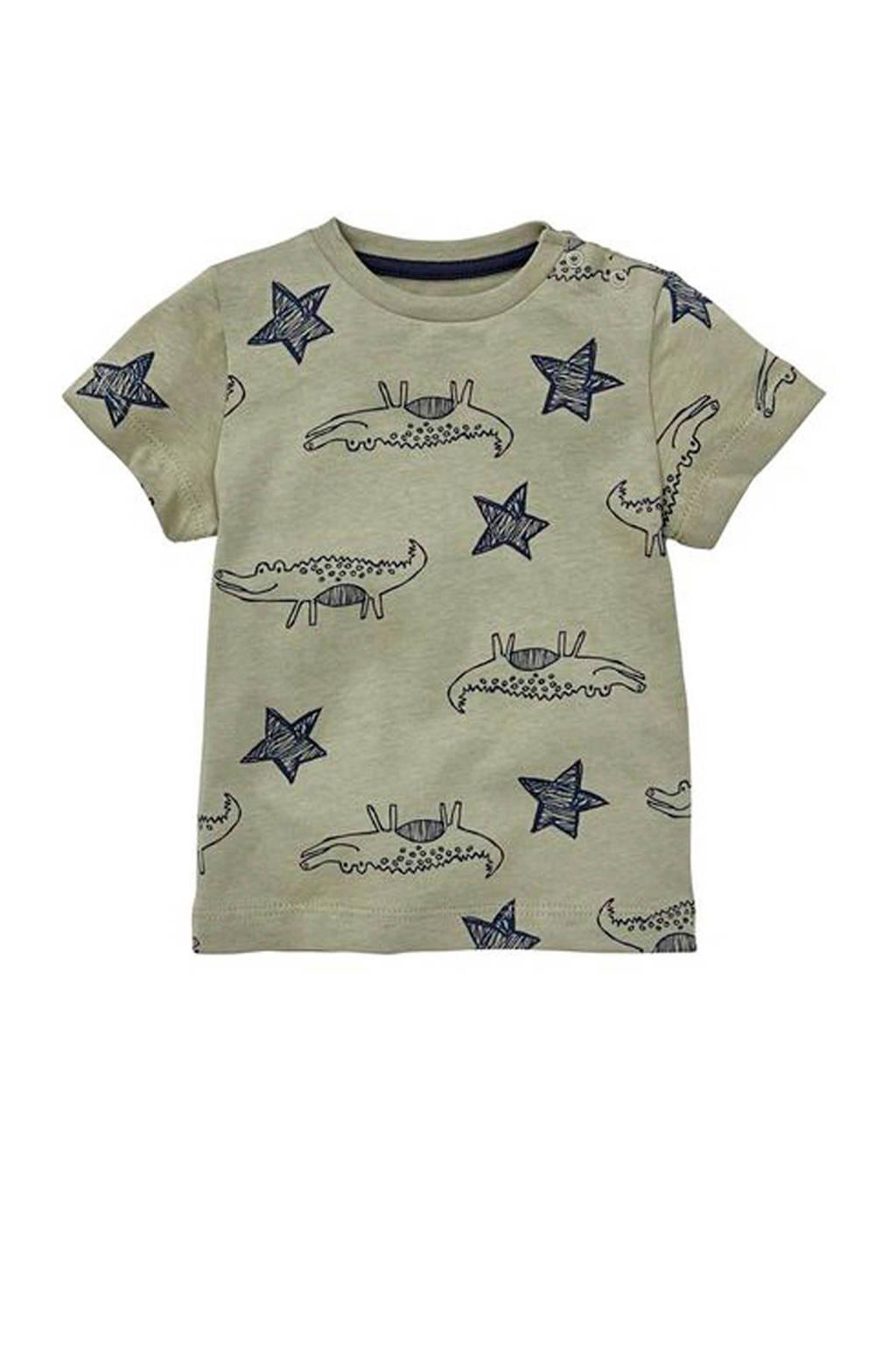 HEMA T-shirt met krokodillen kaki, Kaki