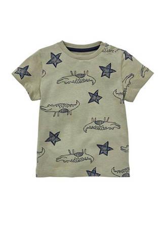 T-shirt met krokodillen kaki