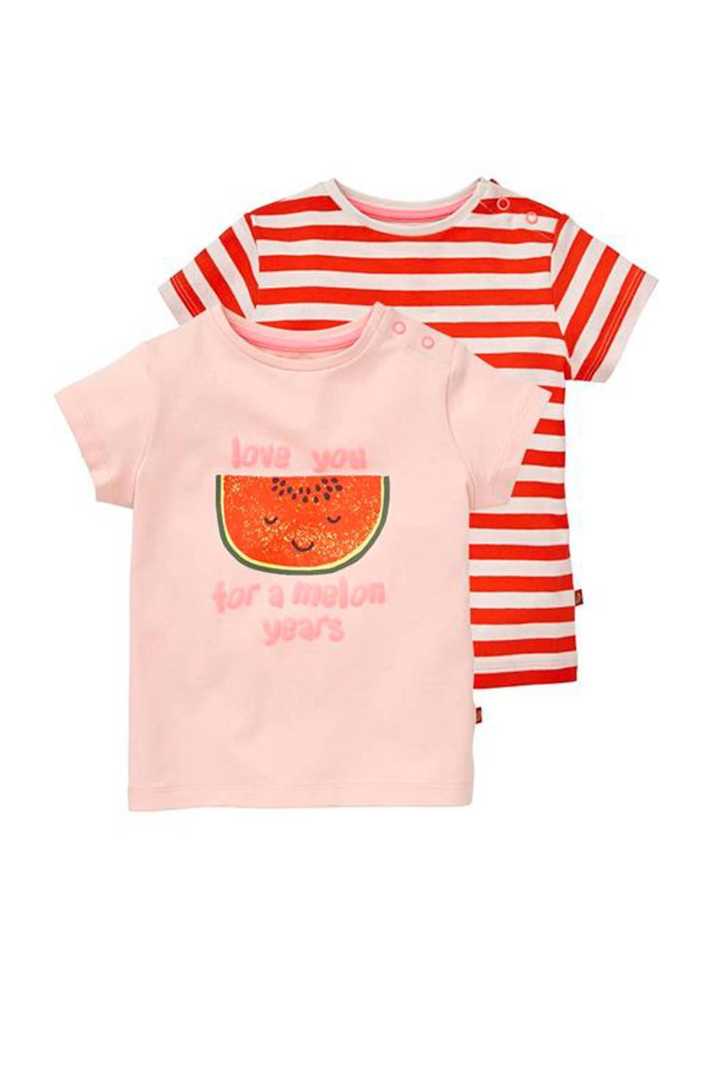 HEMA T-shirt - set van 2, Lichtroze/rood
