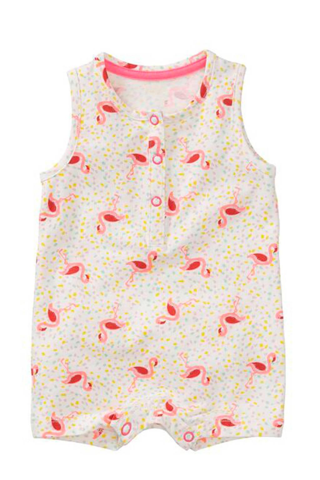 HEMA jumpsuit met all over print wit/roze, Wit/roze