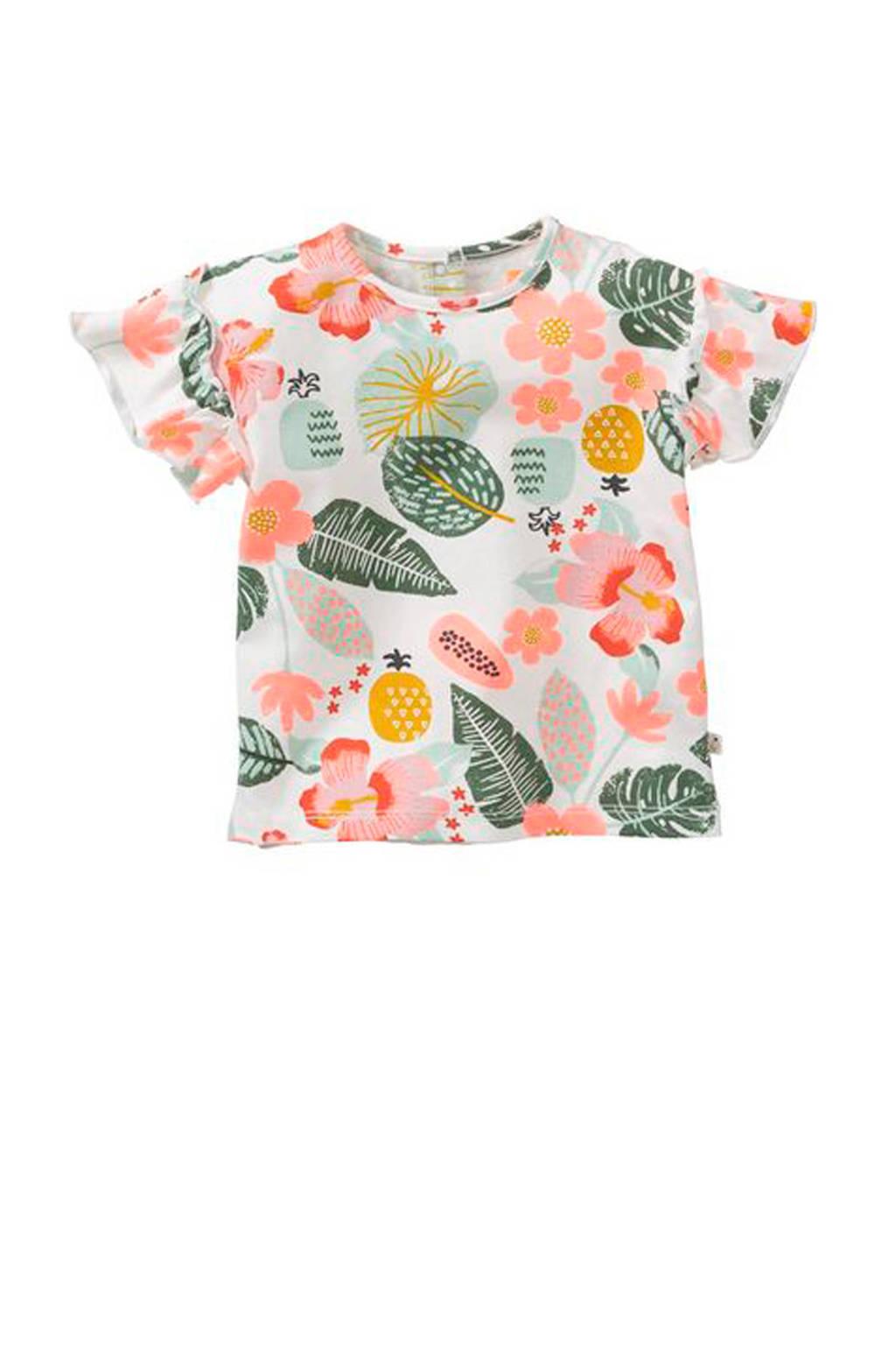 HEMA gebloemd T-shirt wit, Wit/groen/roze