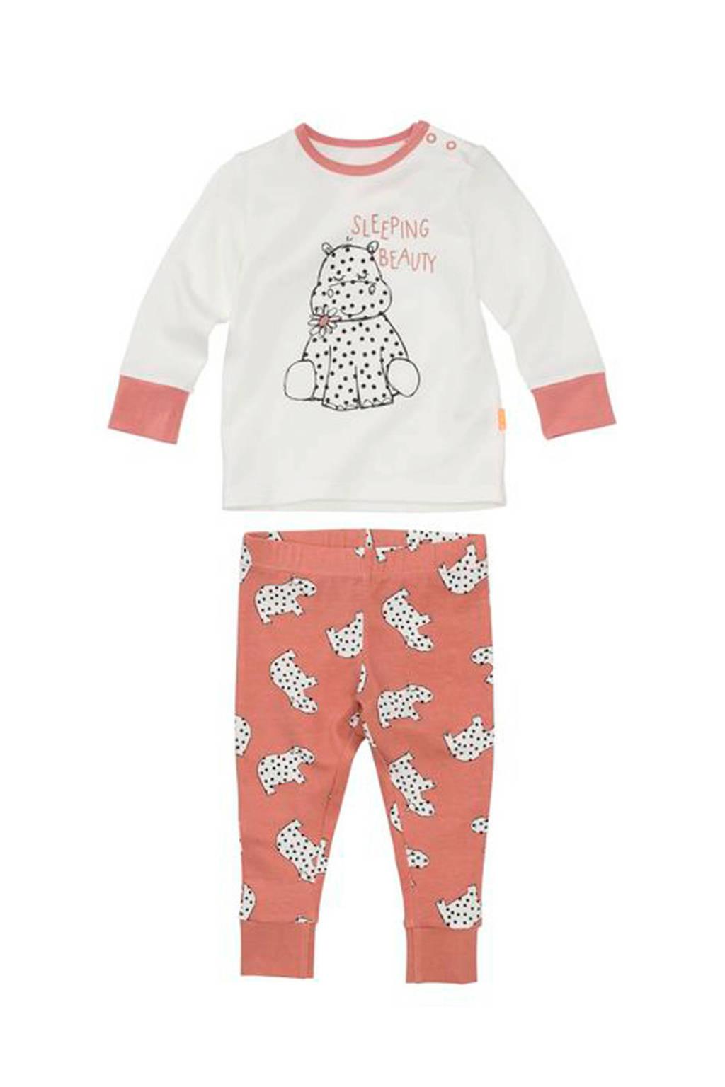 HEMA baby pyjama met bamboe roze, Oudroze/wit