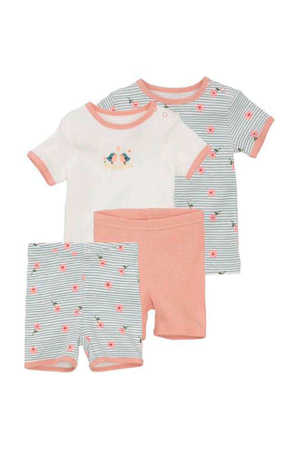 HEMA baby shortama - set van 2, Zalm/wit